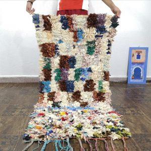 small Moroccan Boucherouite Rug, moroccan boucherouite rug , azilal rug ,vintage boucherouite , berber boucherouite 2.2 x 5 Feet