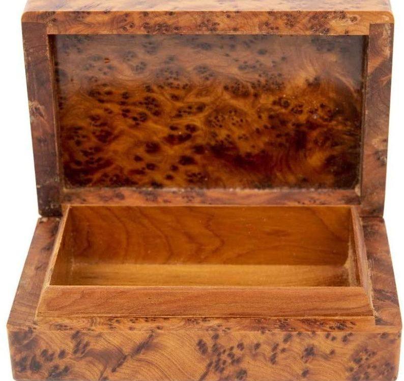 Thuya Wood Rectangular Box - Fair Trade and handmade in Morocco, perfect for jewellery, cufflinks and trinkets.