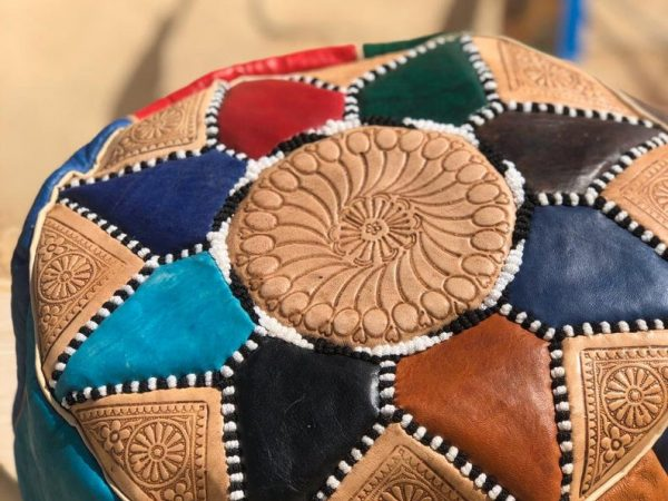 Moroccan Multicolor Pouffe in Real Leather, High Quality, Tabouret Pouf Stool, Footstool, Awesome Contemporary, Handmade Berber Room Design