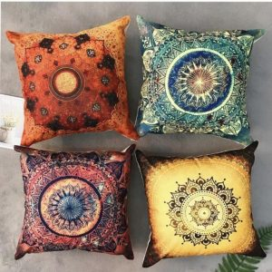 4 Boho mandala Moroccan linen cushion covers bohemian set of 4