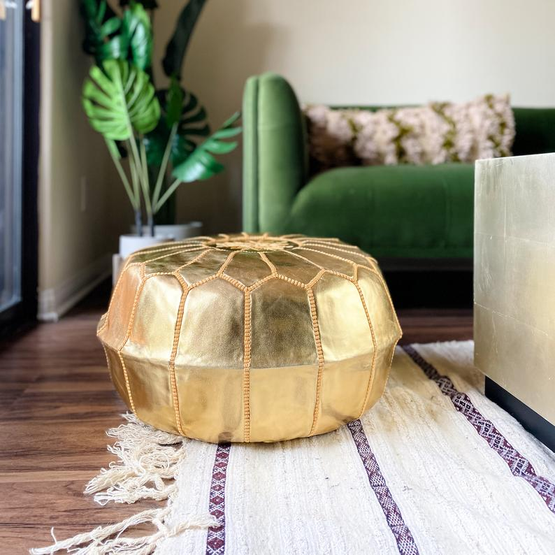 UnStuffed Moroccan Ottoman Faux Leather Pouf - Round Gold Stool