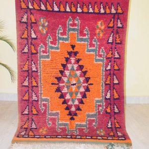 Vintage Moroccan Boujad Rug - Area Rug 3.47x5.7 Ft Antique Morocco Carpet - Berber Rug - Boho Rug - Handmade North African Rug