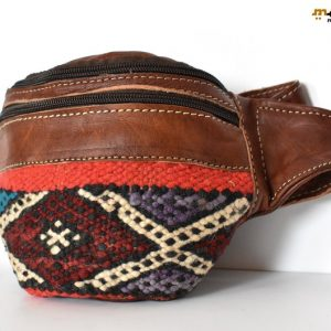 Brown Leather Fanny Pack, Bag leather Kilim, Handmade Fanny Pack, handmade Leather Bag, Embroidered rug leather, Moroccan Style, Geometric