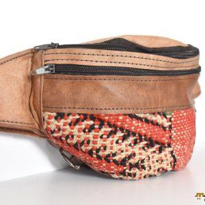 Geometric Fanny Pack Design, Brown Leather Fanny Pack, Bag leather Kilim, Unisex design, Moroccan style, Festival bag, Summer festival