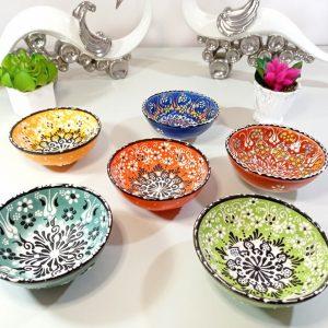 6pcs Unique Embossed Handpainted Large Ceramic Bowls Set, Dinner Salad Soup Fruit Pottery Decorative Gift for New Home Buyer, Housewarming