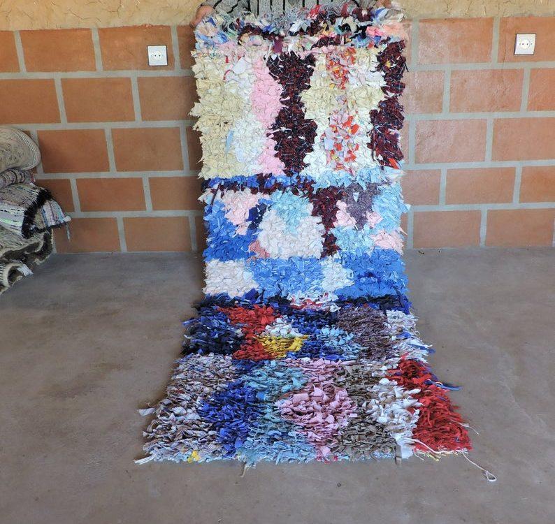 Rare Small Moroccan Bourerouite Rug, Azilal Rug, Vintage Moroccan Carpet, Berber Boucherouite Talsint Wool Boujaad Carpet 6.2/2.3 FT