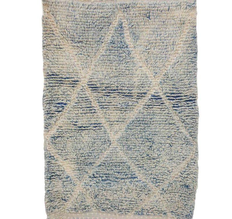 3x5 feet New Boujad Rugs White Cream Blue Contemporary Diamond Small berber handmade rug Wool