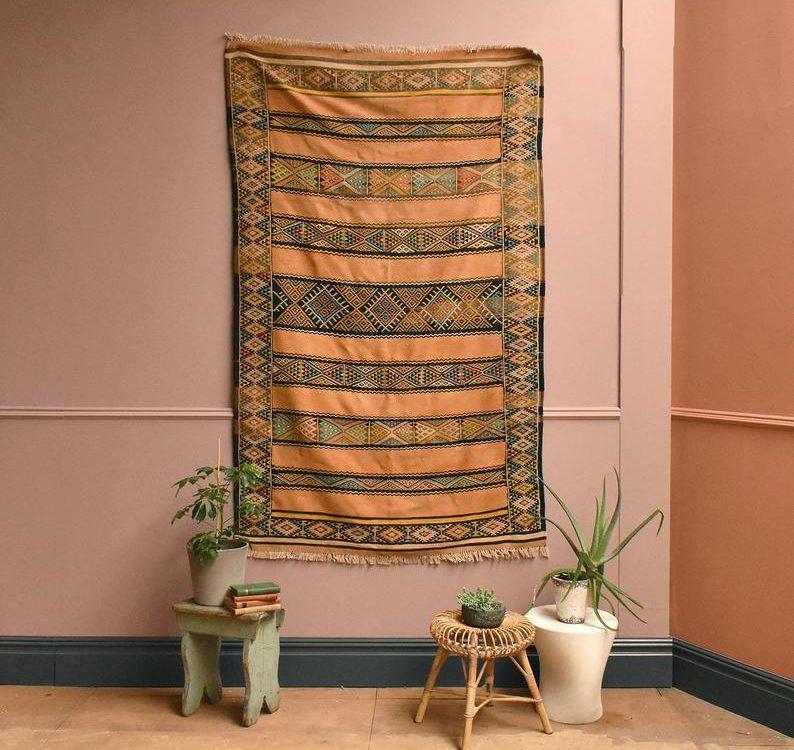 Vintage Moroccan Kilim Rug Original Geometric Vintage Kelim Rug