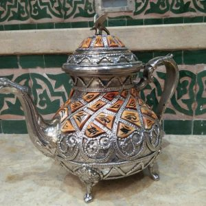 Moroccan silver plated tea pot with Bone Overlay Decorative Tea Pot