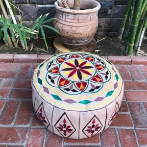 Beige leather Moroccan Pouf, Moroccan Poufs, Leather poufs, Moroccan leather Pouf, Oriental Pouf, Bohemian Pouf, gift for her, colorful pouf