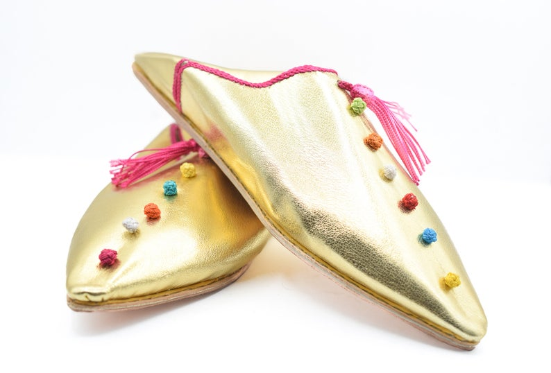 Moroccan pompom slippers, Bedroom slippers women, Leather mules for women