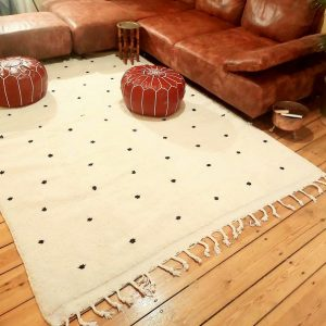 Elagant beni ourain moroccan rug , black and white berber carpet ( 9,8 x 6,56 ft )