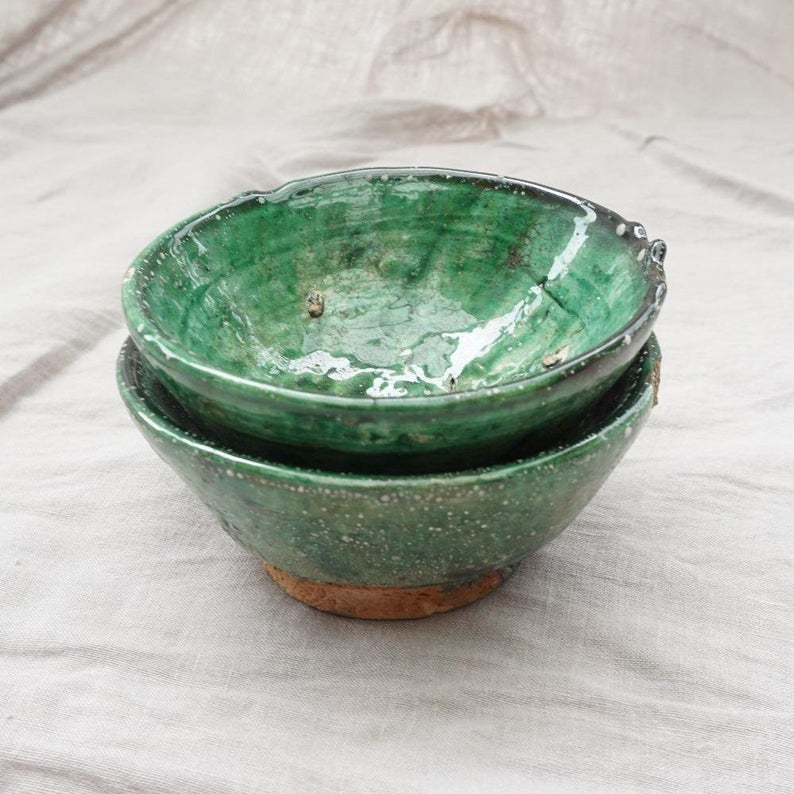 Tamegroute - Green or Ochre Set of 2 Mezze Bowls **OFF 30%** 14cm and 18cm - authentic Moroccan craftsmanship,decoration- ornament