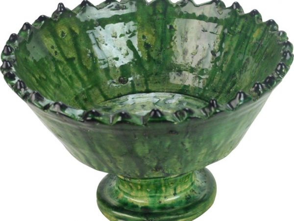 Moroccan Mashatia Green high Bowl - Authentic Tamegroute Bowl