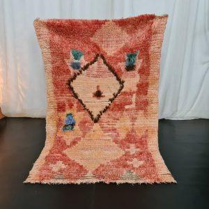 SHEEP WOOL RUG, Moroccan Rug, Tribal Wool Carpet, Vintage Geometric Rug, Faded Red Rug, Bohemian Rug,Tapis Marocain,Teppich Moroko