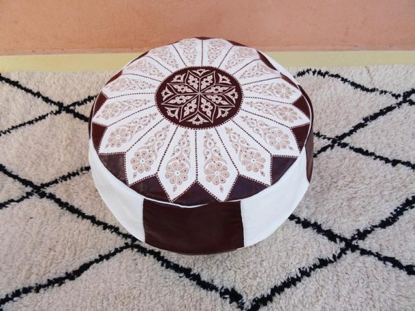 Original Moroccan Pouf - Handmade Genuine Leather - Ottoman Footstool Hassock - 100% real Natural Leather pouffe - vintage pouf