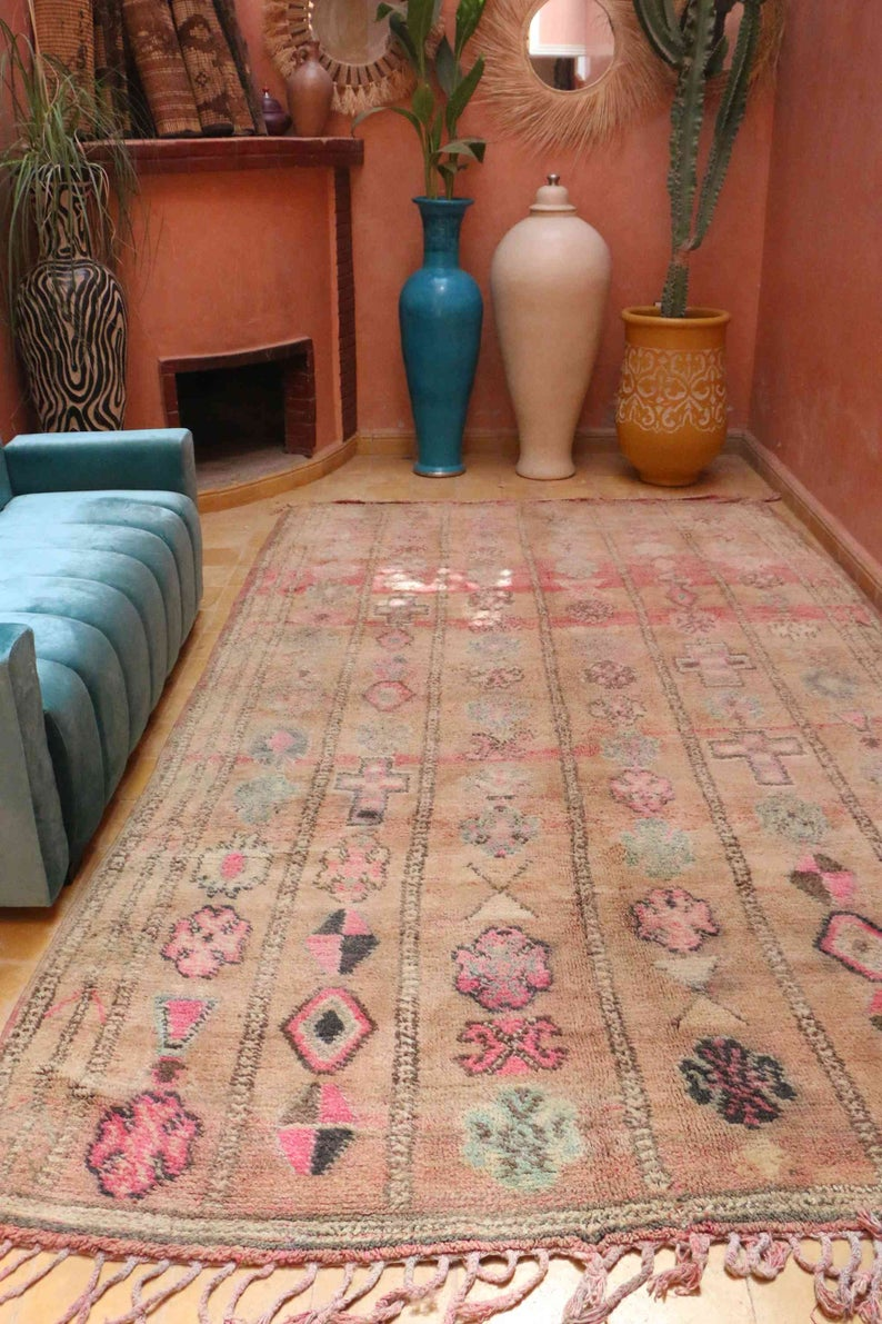 Handknotted moroccan boujad rug 6ft x 8.2ft