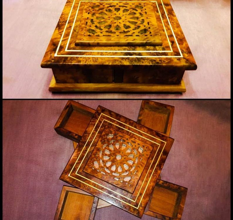 FAST Shipping** Secret box for jewelry - wooden decoration - Earring organizer - wooden box - Thuya wood handmade - MOROCCO