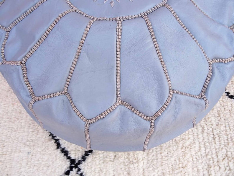 Gray leather pouf with gray stitching Multi Color - Gray moroccan pouf - luxury ottomans footstools Leather pouf - handmade poof