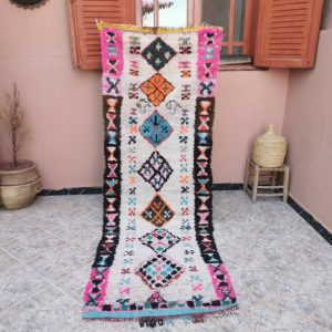 Vintage Moroccan Handmade Runner - Boucherouite Rug 7.97 feet x 2.69 feet! / colorful moroccan runner rug