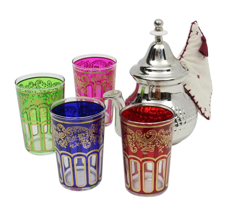 Moroccan Silver Teapot Hammered Medium with 4 Multicoloured Tea Glasses and Handle Cover Handmade