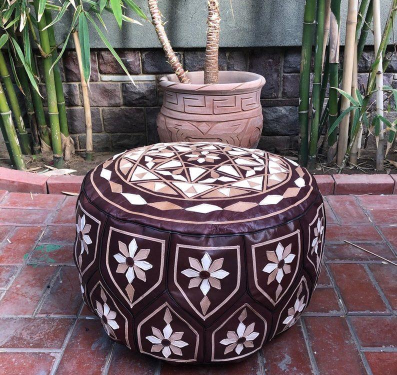 Classy bohemian Moroccan pouf, 30cm x 50cm Leather Pouf, Ottoman Pouf, Arabesque Oriental Pouf, Moroccan Pouf, Leather poufs, leg rest