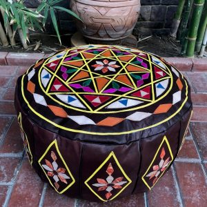 """Handcrafted Leather Moroccan Pouf, One of a kind moroccan Pouf, 9"""" x 19"""" Pouf, Oriental Pouf, Moroccan Pouf, Leather pouf, Bohemian pouf"""