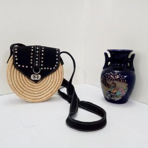 Round Bag With Raffia and Leather, Marrakech-morocco , Handmade Woman Rattan , Handmade Woman Rattan , Fashion Handmade