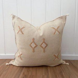 Light Grey Moroccan Sabra Pillow Handmade Home Decor Cactus Silk