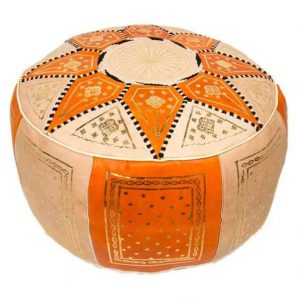 Moroccan Leather Pouf, Camel Moroccan Pouf ,Pouffe, Foot Stool, Hand-stitched Pouf, Ottoman,Foot-rest