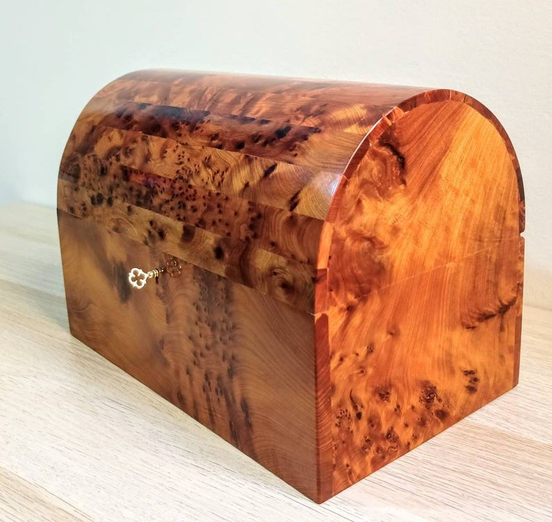"""XL Luxury Jewelry Box ***FAST Shipping *** Mexican Style"""" Size 3 / Handcrafted from Extremely Rare Thuya Wood From Morocco """" Tree of Life"""""""