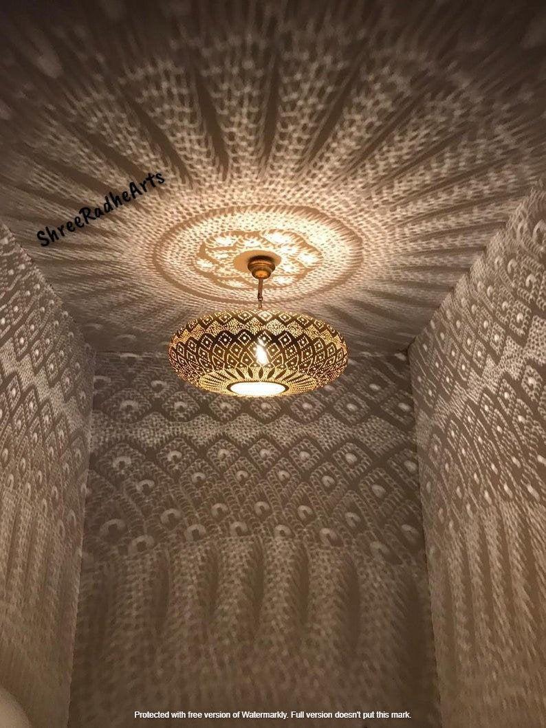 Moroccan Pendant Light, Turkish Hanging Oriental Arabian Golden Moroccan Lamps Ceiling Lights Home Lantern Gift New Home Decor Lighting