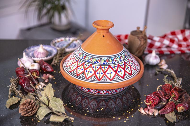 Handmade, Hand-painted Bohemian Red Ceramic Tagine, Kamsah Cooking Pot, Easter, Mother's Day, Thanksgiving, Christmas gifts Lead-free