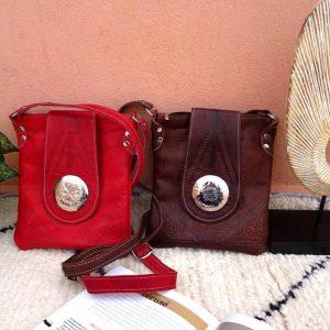 "Moroccan Leathers Genuine Crossbody Purse Bag - Multi-purpose Zip Pockets - Leather Handbags for iPad 9.7"" - Premium Crossover Small Bag"