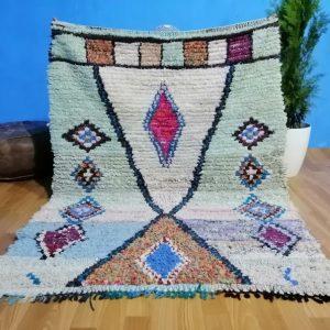 Handwoven Boucherouite Rug , Moroccan Rag Rug , Vintage Morrocan Boucherouite Rug , Moroccan Shag Rug 4.70 x 3.60 Feet