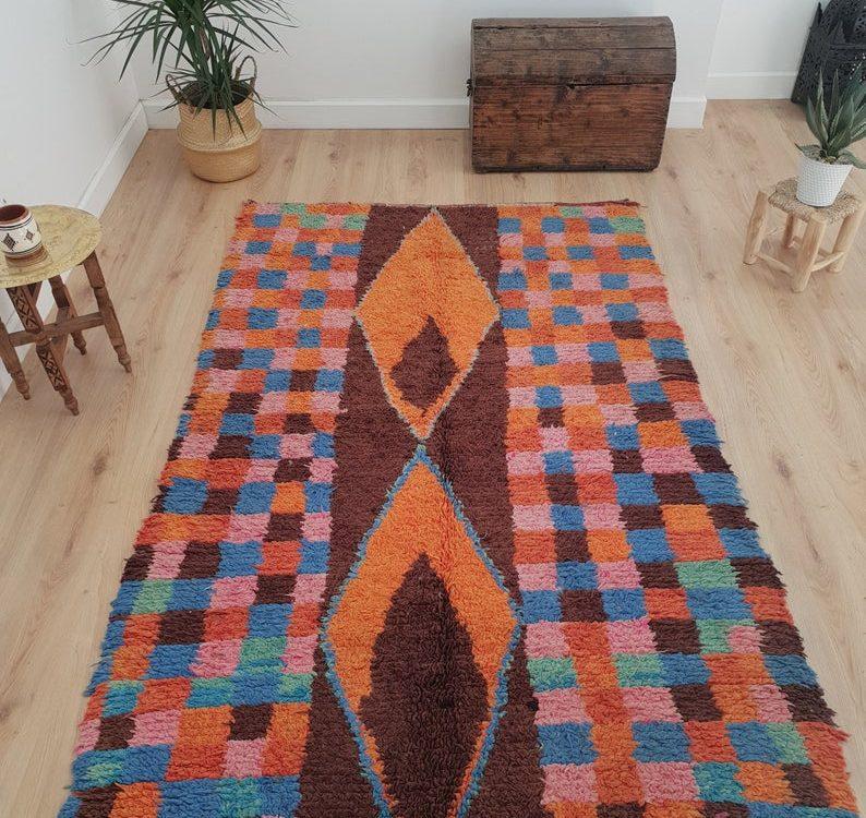 Authentic Berber Boucherouite Rug 4x6 ft, Vintage Handmade Moroccan Rug, Handwoven Moroccan Rug, Tribal Bohemian Rug - 206x132 cm