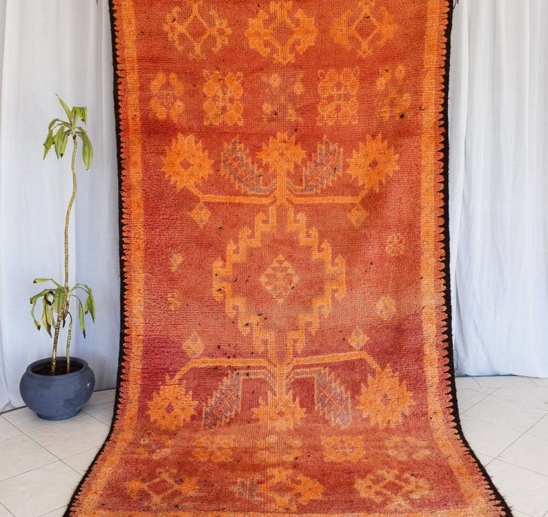 Large Vintage rug Boujaad rug orange Moroccan rug Berber Boujad orange rug Moroccan Carpet 10 Ft× 5.2 Ft berber rug chic brown rug