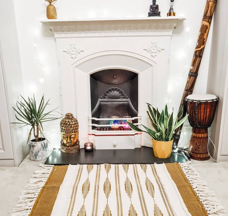 Moroccan Kilim Style Boho Cotton Weave Tufted Rug - Mustard *LIMITED STOCK*