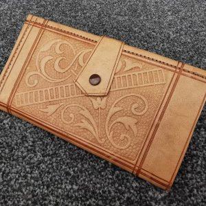 Vintage Moroccan Artisan Leather Wallet Handmade Morocco Money Passport Smartphone Credit Card Coin Pocket, Large Unisex Design, Tan