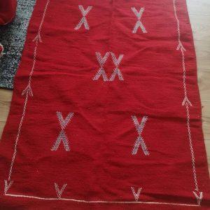Woollen Moroccan Kilim Rug Handmade Red New