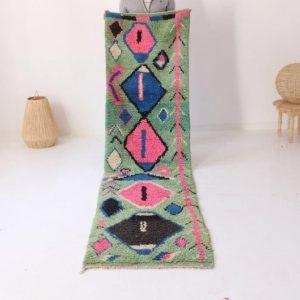 Moroccan Runner Boujad Rug - Hallway Long runner - Handmade Berber runner Rug - Vintage carpet - 100 % handwoven-FREE SHIPPING