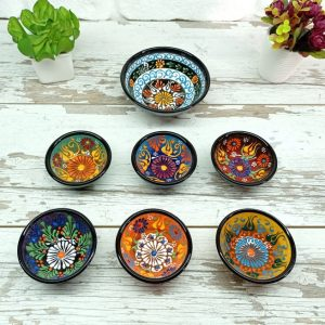 Unique Set of 7 Colorful Floral Artisan Ceramic Serving Bowls Moroccan Turkish Cute Breakfast Pottery Design Decor Gift For Her Housewarming