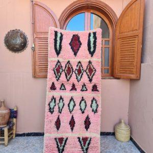 Pink rug - 2.49 feet x 10.89 feet ! Vintage Moroccan Berber shaggy runner rug / colorful moroccan runner rug