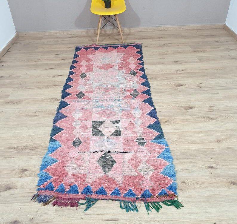 boucherouite rug - berber rug , moroccan rug , area rug , vintage boucherouite rug ,runner boucherouite