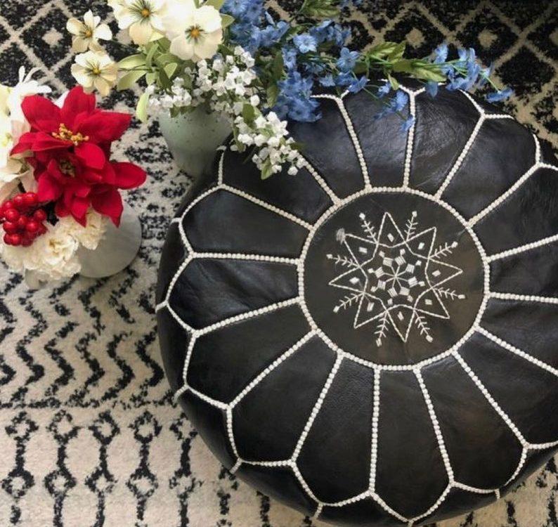 STUFFED- Black Moroccan Pouf Leather Pouf Ottoman pouffe Moroccan home decor boho moroccan kilim berber pouf ottoman footstool handmade