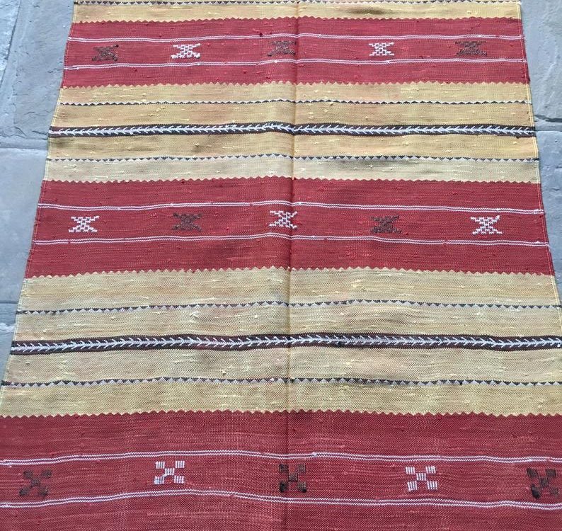 Handwoven Moroccan Berber Silk Kilim/Rug/Carpet/Throw/Blanket - beautiful and unique