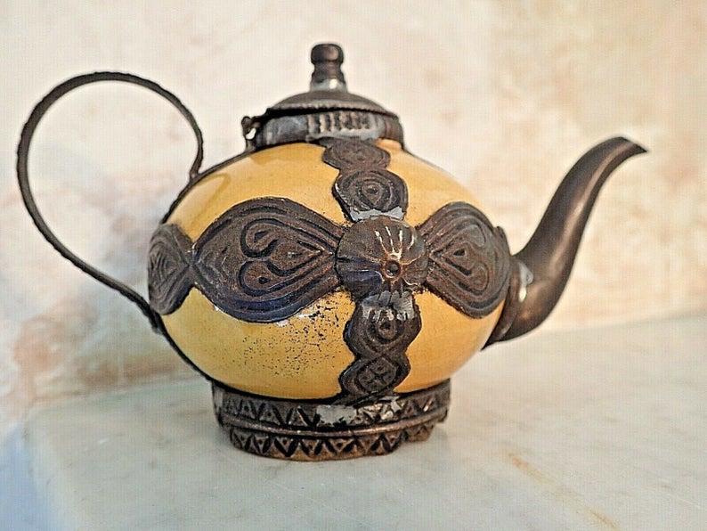 Vintage MOROCCAN TEA POT Copper Metal Binding Islamic