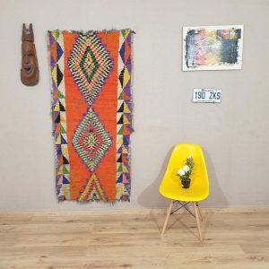 Runner boucherouite rug - berber rug , moroccan rug , area rug , vintage boucherouite rug ,runner boucherouite