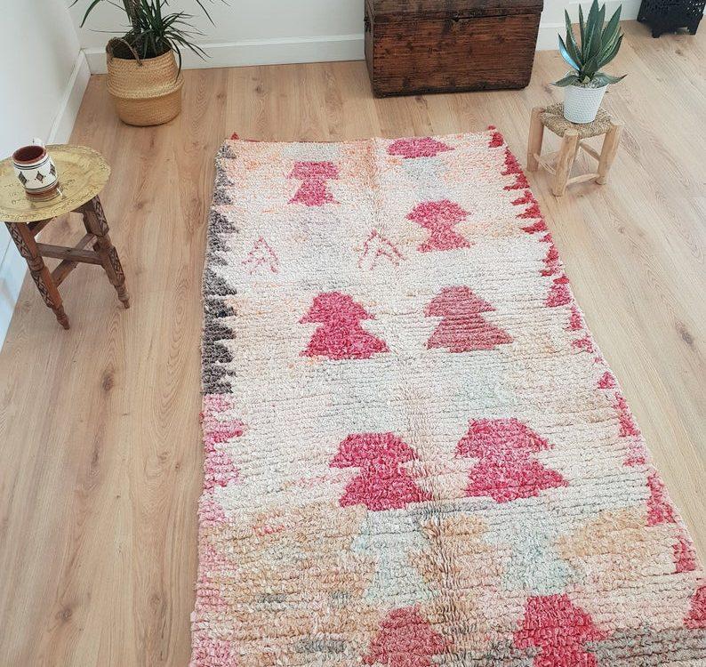 Vintage Pink Boucherouite Rug 3x6 ft, Authentic Handmade Moroccan Berber Rug, Handwoven Moroccan Rug, Tribal Bohemian Rug - 200x105 cm