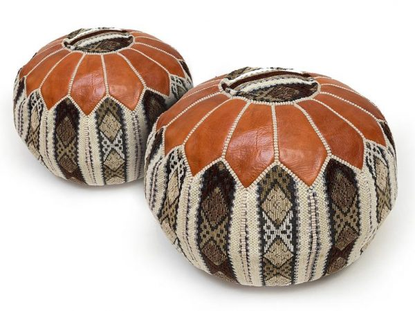 special Moroccan Pouffe, Best Moroccan leather pouf, moroccan leather, moroccan pouf, leather pouffe, Resybrown Moroccan leather pouf,
